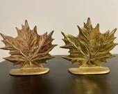 Pair of Vintage Solid Brass Leaf Bookends