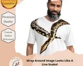 Ball Python Wrapped Around neckline T-shirt - Perfect for Snake Lover - Ball Python tshirt