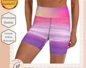 Watercolor Pastel Yoga Shorts with pocket - Watercolor Workout Shorts with pocket
