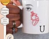 Eye Heart U - Anatomical Human Heart mug - Human Heart Mug - I love you mug - Science Mug - biology Love Mug