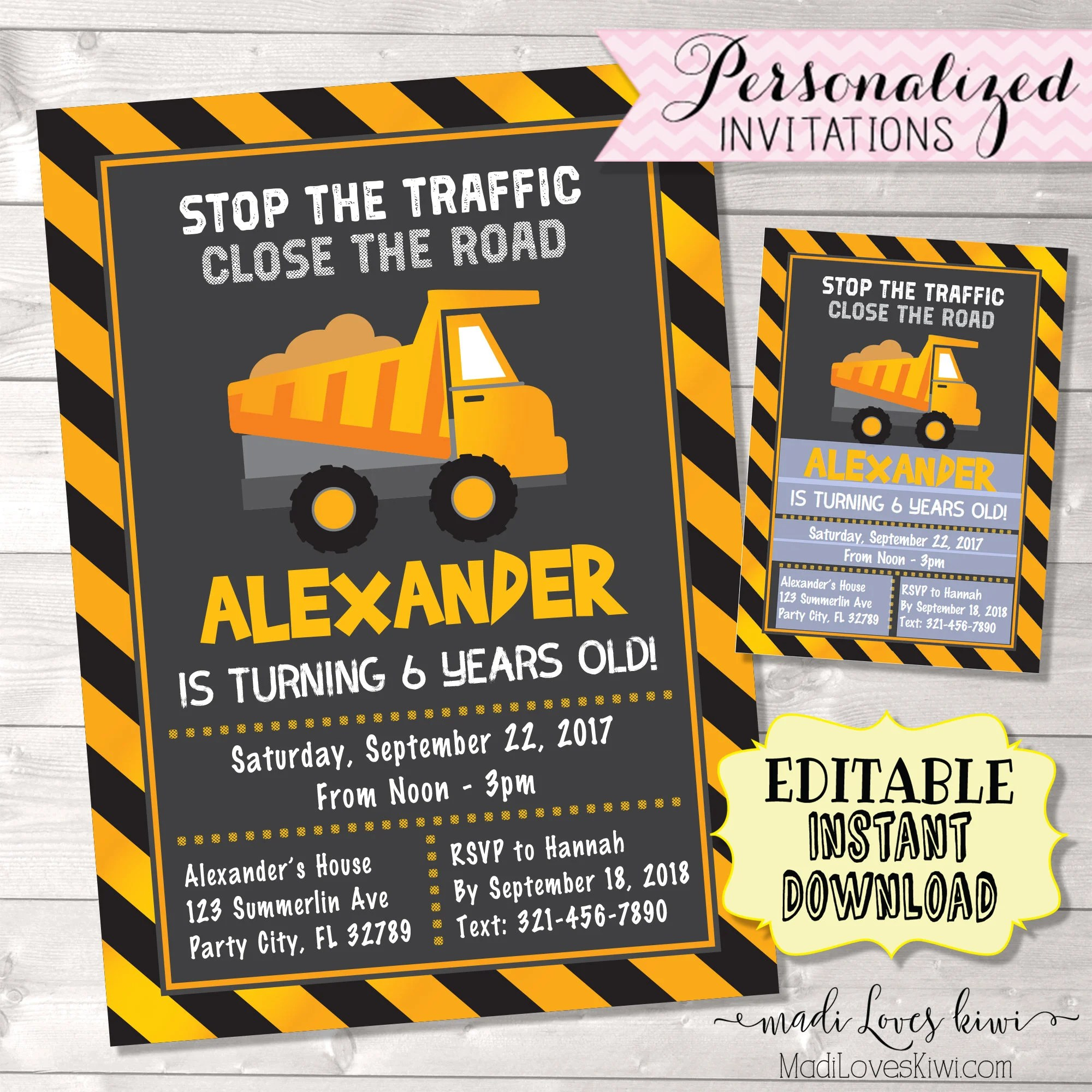 under construction birthday invitation digital dump truck party invite printable builder boy theme first 1st editable pdf instant download