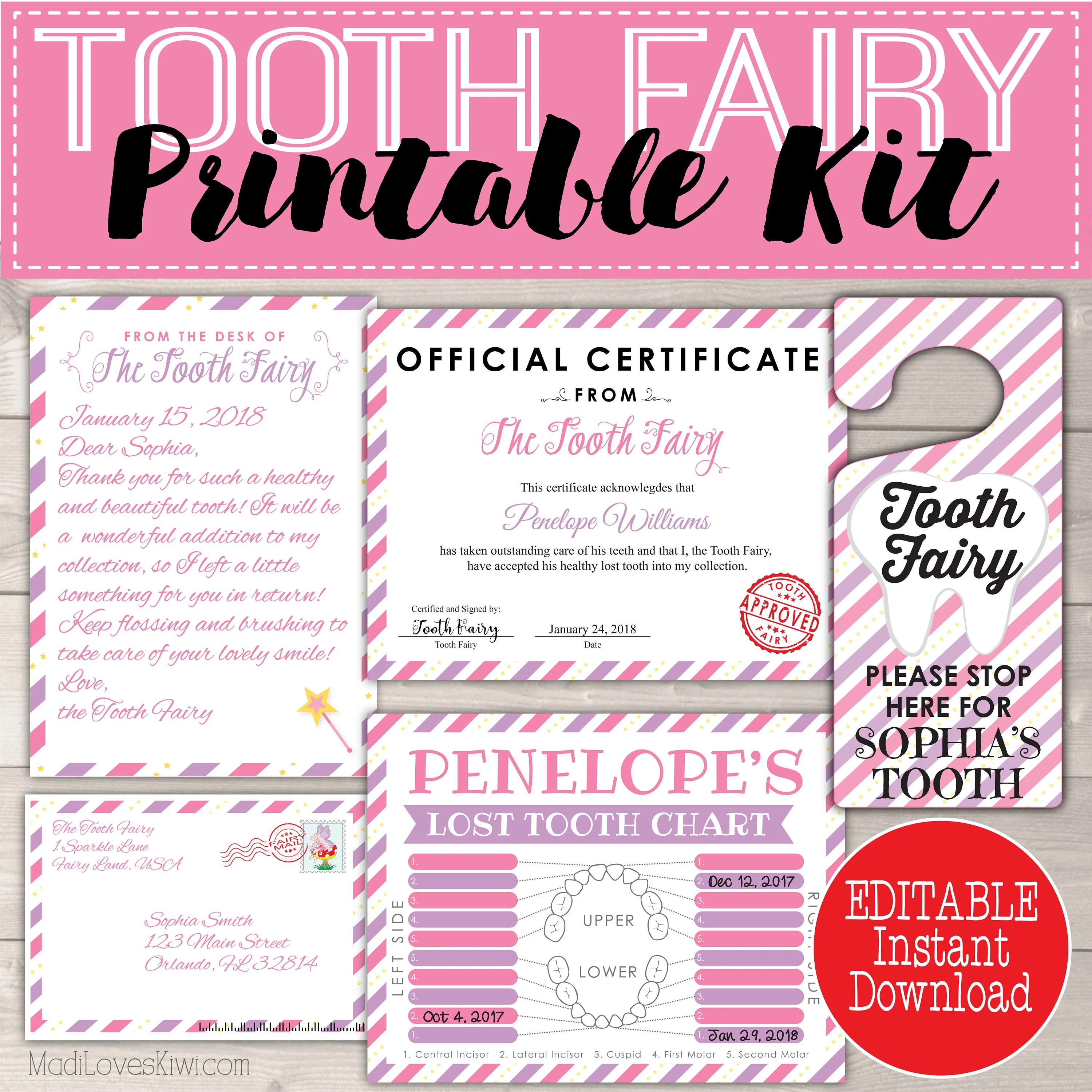 Letter From Tooth Fairy Letters Kit Teeth Tracker PDF