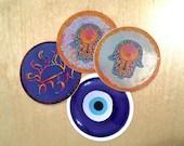 Jewish Amulet Sticker Bundle - Hamsa, Mizrach, Nazar (Evil Eye Ward) - Waterproof