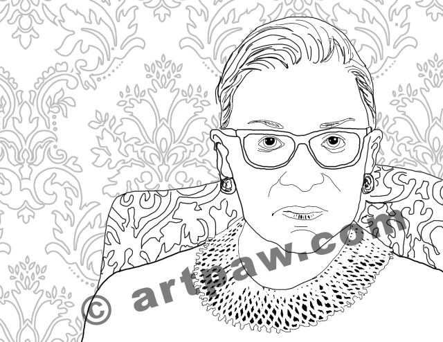 Female Heroes Coloring Book Page / Instant Download / RBG Ruth Bader  Ginsburg PDF