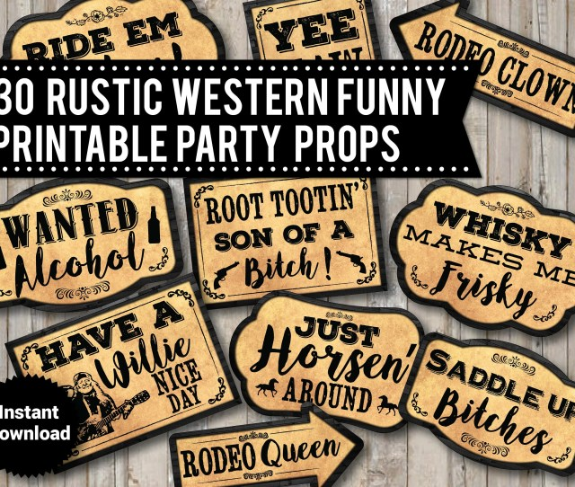 Printable Western Rustic Photo Booth Props Wedding Instant Download Cowboy Props Cowgirl Props Funny Photo Booth Signs Wood Signs