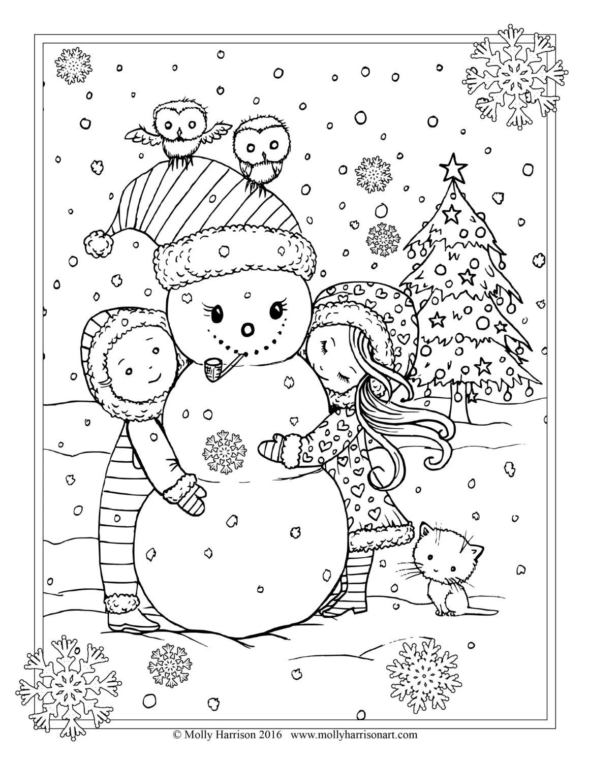 Children With Snowman And Owls Coloring Page Printable
