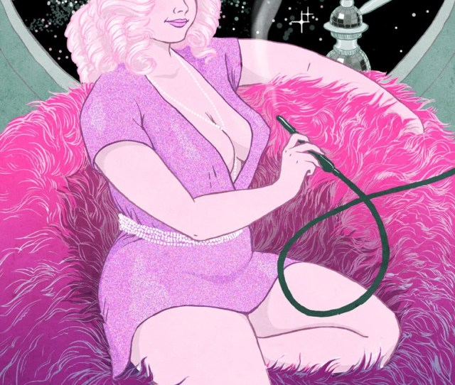 Curvy Pinup X Art Print Fat Bbw Body Positive Sexy Sci Fi Pink Disco Hair Smoking Hookah In Space