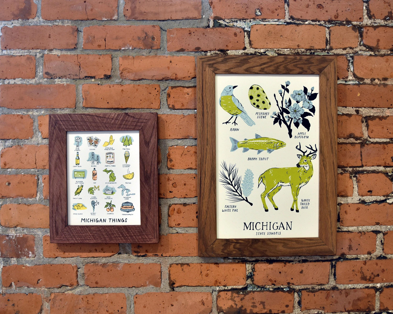 Michigan State Symbols Art Print 11x17 Hand