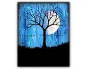 Phase II - Moon Phases & Tree Art Print Modern Artwork Contemporary Painting Bold Blue Dark Home Decor Painting 8x10 5x7 4x6 ACEO Signed