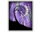 Phase I Moon Tree Art Print Vibrant Purple Modern Artwork 8x10 5x7 4x6 ACEO Sizes Wall Decor Bold Dark Modern Contemporary Signed Fine Art