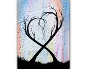 New Union - Original Acrylic Painting 11 x 14 Heart Trees Abstract Watercolor Artwork Rainbow Color Black White Vibrant Bold Canvas Wall Art