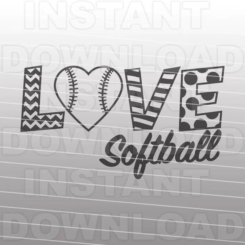Download Love Softball SVG File Softball Heart SVG File Commercial ...
