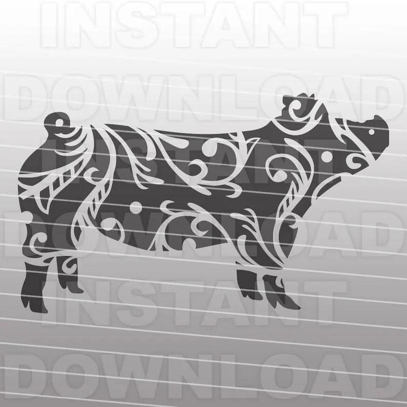 Download Fancy Decorative Ornate Show Pig SVG FileStockshow SVG | Etsy