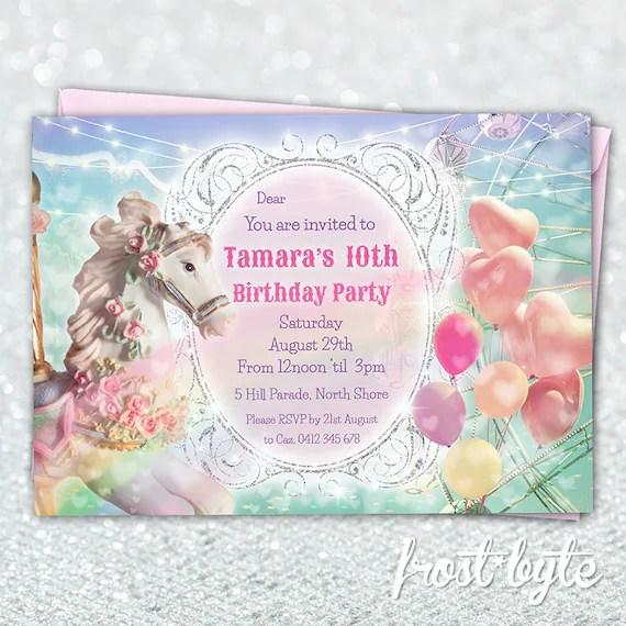 carrousel invitation anniversaire cheval theme carnaval poney guirlandes ballons numerique personnalise fichier a imprimer chez soi 10e