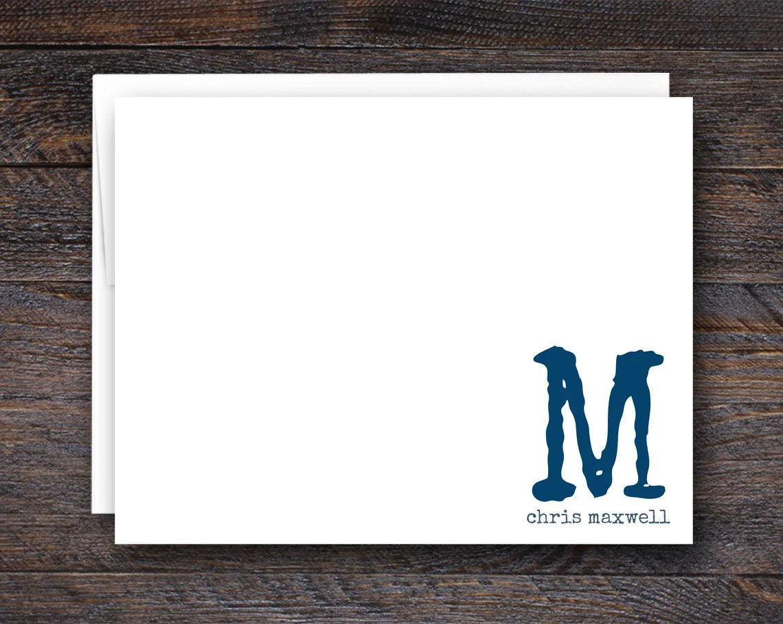 Monogram Flat Note Card S...