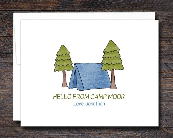 Custom Camp Note Cards - Blue