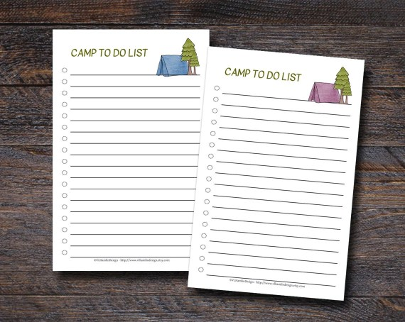 Summer Camp To Do List - Available in Pink or Blue