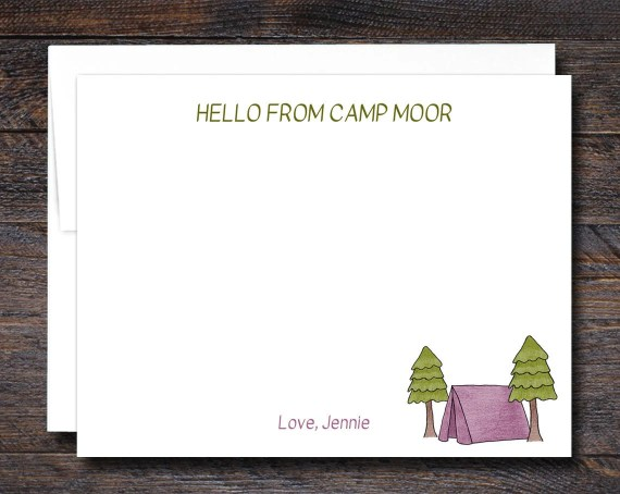 Camp Note Cards - FLAT - PINK