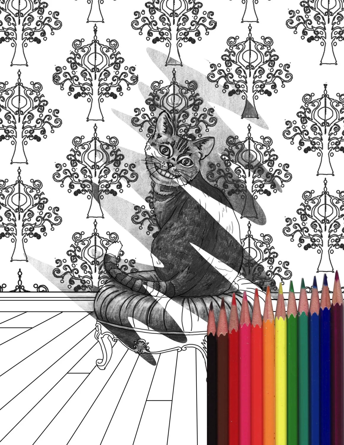 Cheshire Cat Coloring Page Alice In Wonderland Coloring
