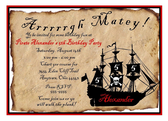 pirate invitations pirate ship
