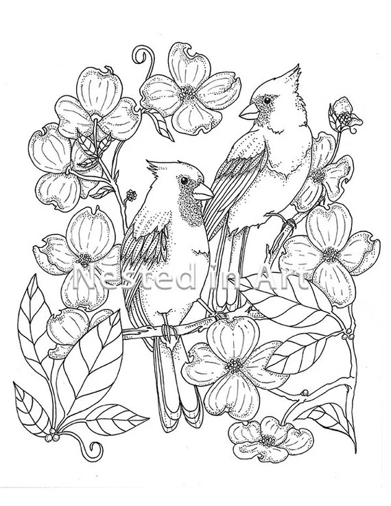 Punch Needle Pattern Coloring Book Page Cardinals And Etsy