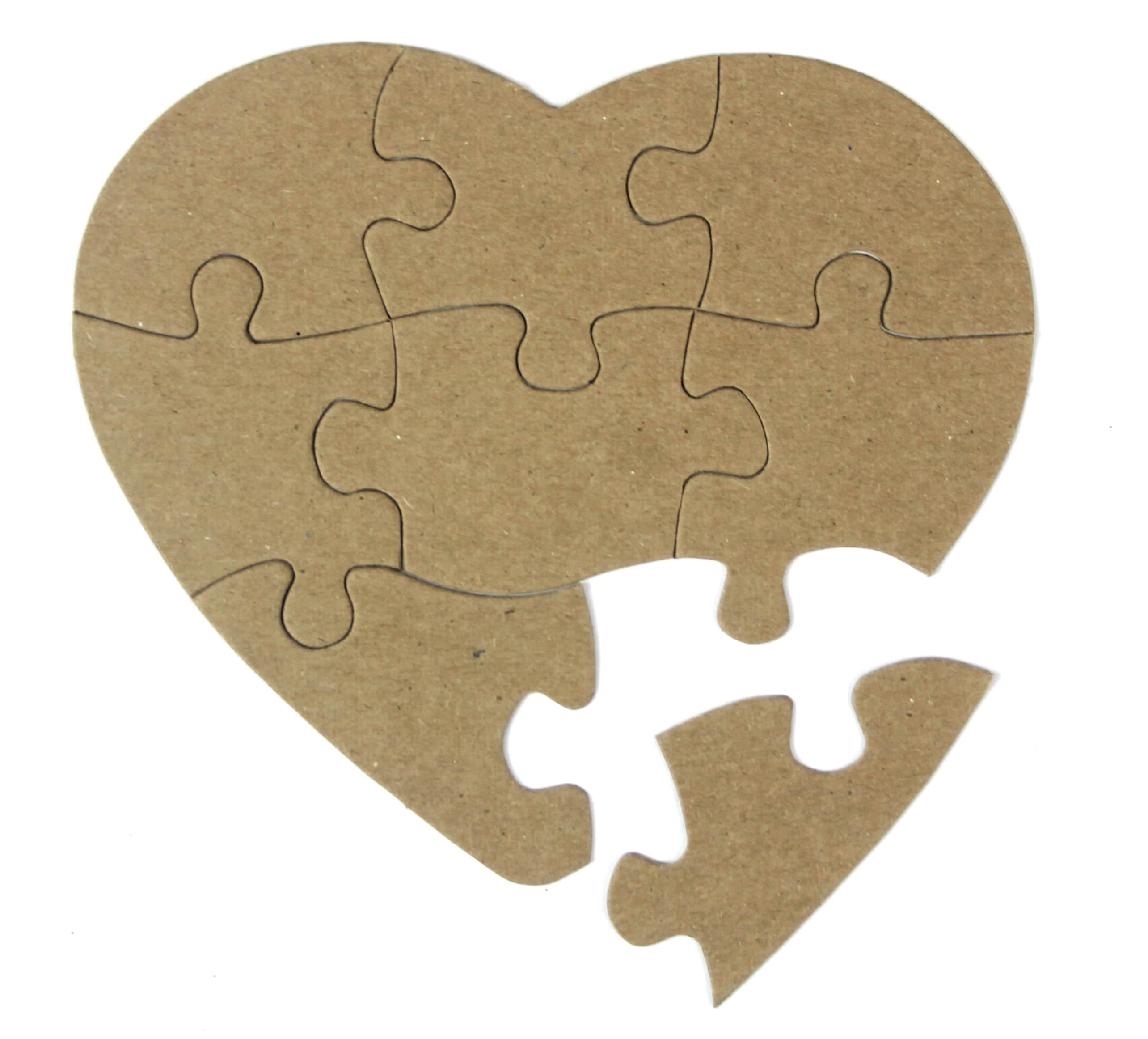 Heart Shaped Jigsaw Puzzle 8 Piece Heart Puzzle Bare
