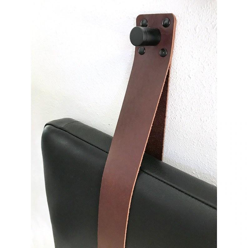 Real Leather Black Hanging Headboard Cushion with Leather ... on Cognac Leather Headboard  id=87862