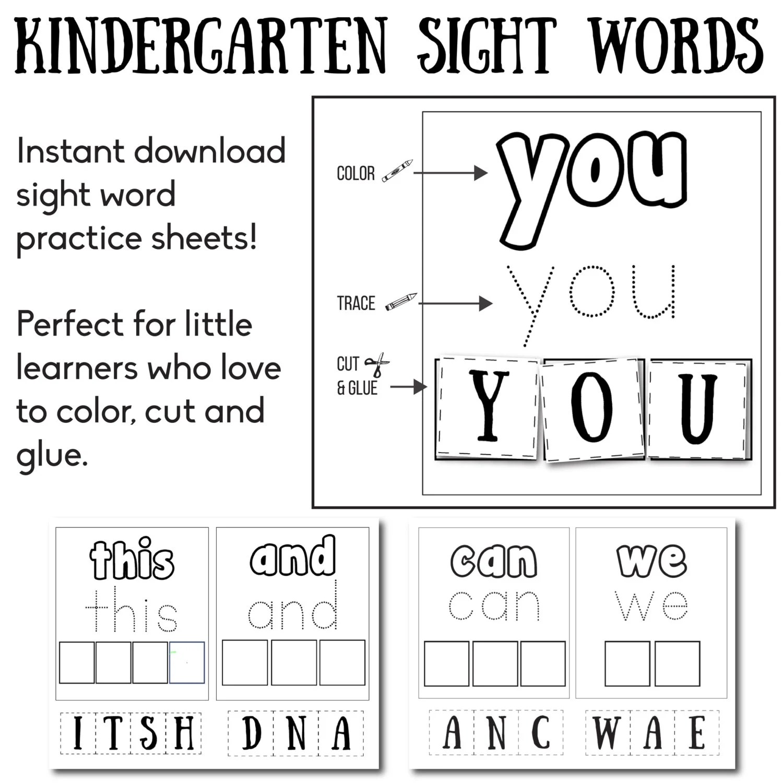 Kindergarten Sight Words Educational Worksheet