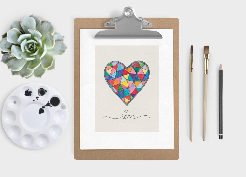 Kaleidoscope Heart Art Print Geometric Heart Art Print