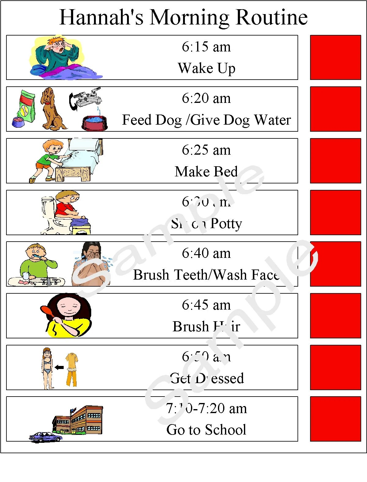 Autism Pecs Daily Routine Chore Chart Visual Aid Schedule