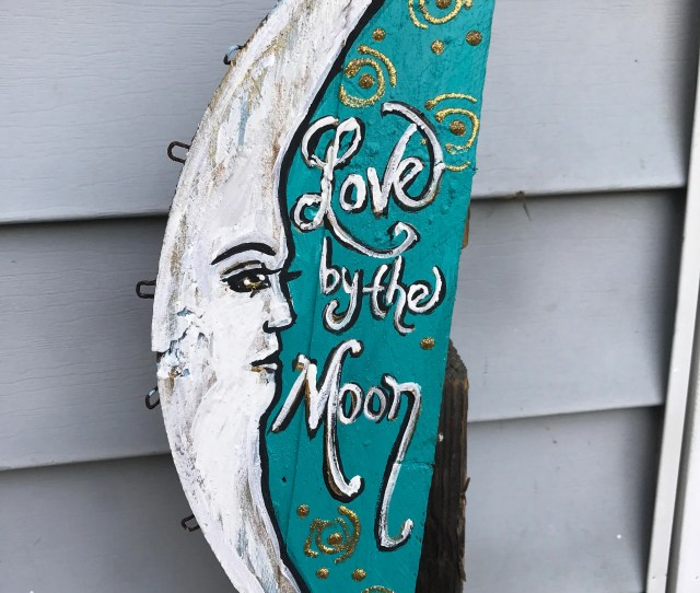 Love By The Moon Night Stars Glitter That Does Not Flake Off Crab Basket Bottom Would Re Purposed Painting Original Art Gift Whimsical
