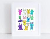 Bunnies // Art Print // Nursery Home Decor