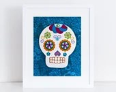 Dia de los Muertos // Day of the Dead // Collage Art Print Blue