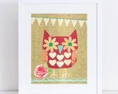Owl Collage // Red & Brown // Collage Art Print