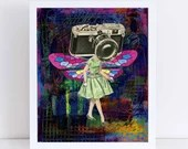 Dragonfly Girl // Collage Art Print // Surreal Home Decor