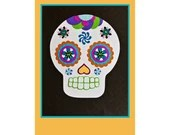 Dia de los Muertos // Day of the Dead // Collage Art Print Yellow