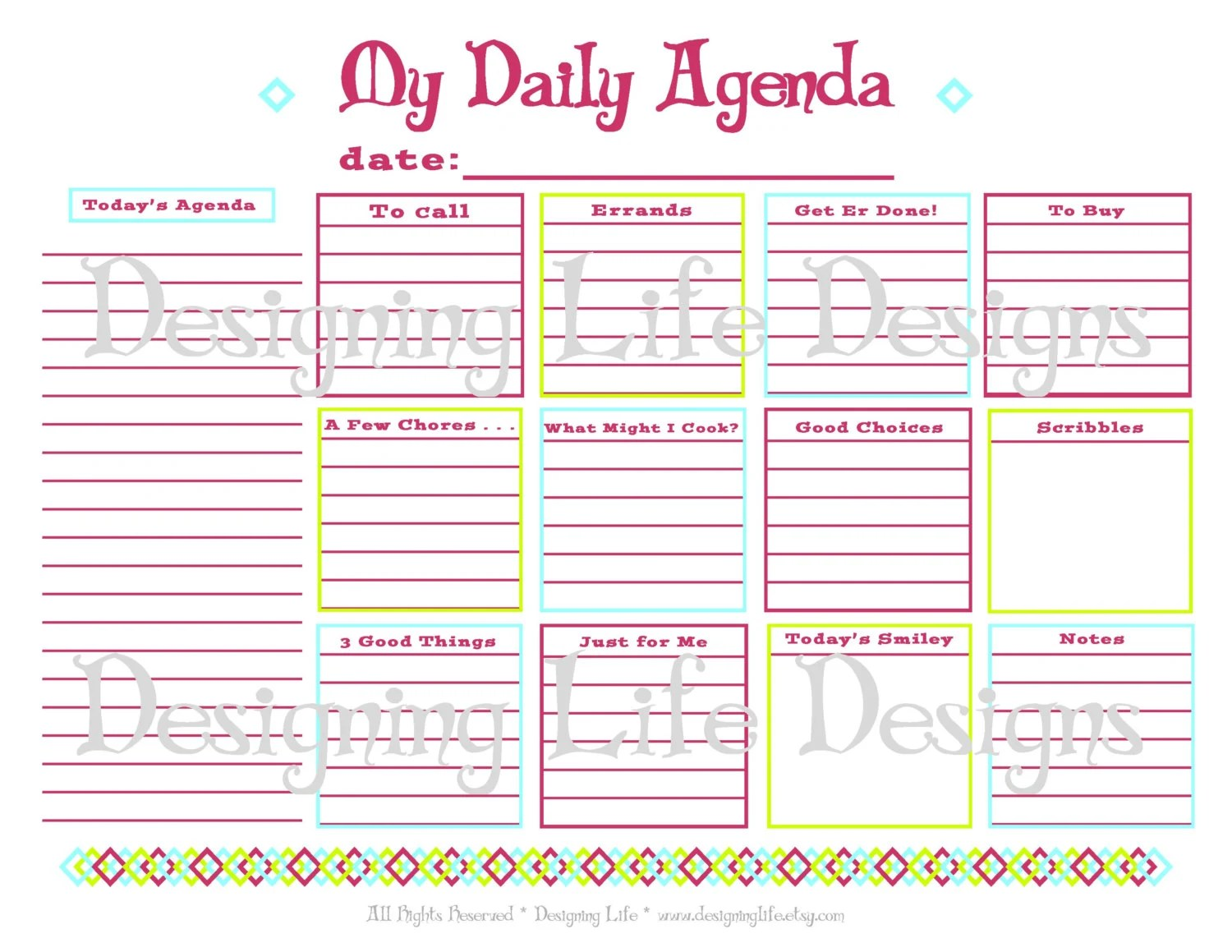 Daily Agenda Printable Daily Planner Page To Do List