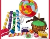 CANDY SHOPPE - PDF Felt Food Pattern (Lollipop, Ribbon Candy, Taffy, Candy Sticks, Candy Apple)