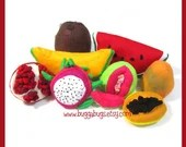 TROPICAL FRUIT - Felt Food PDF Pattern (Guava, Cantaloupe, Pomegranate, Dragon Fruit, Papaya, Mango, Coconut, Watermelon)