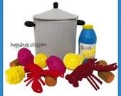 CRAWFISH BOIL - PDF Sewing Pattern (Crawfish, Corn Cob, Red Potato, Stock Pot, Lemon Half, Sausage, Blue Lemonade))