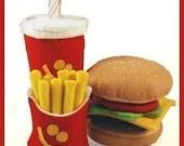 A Very Happy Meal - PDF Felt Food Pattern (Hamburger, Milk Shake, Fries)