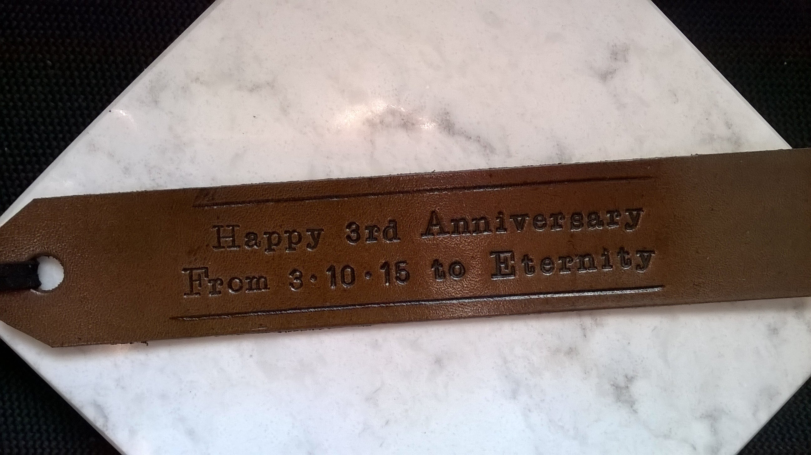 3rd Anniversary  Long Text  Personalized Leather Bookmark dark brown