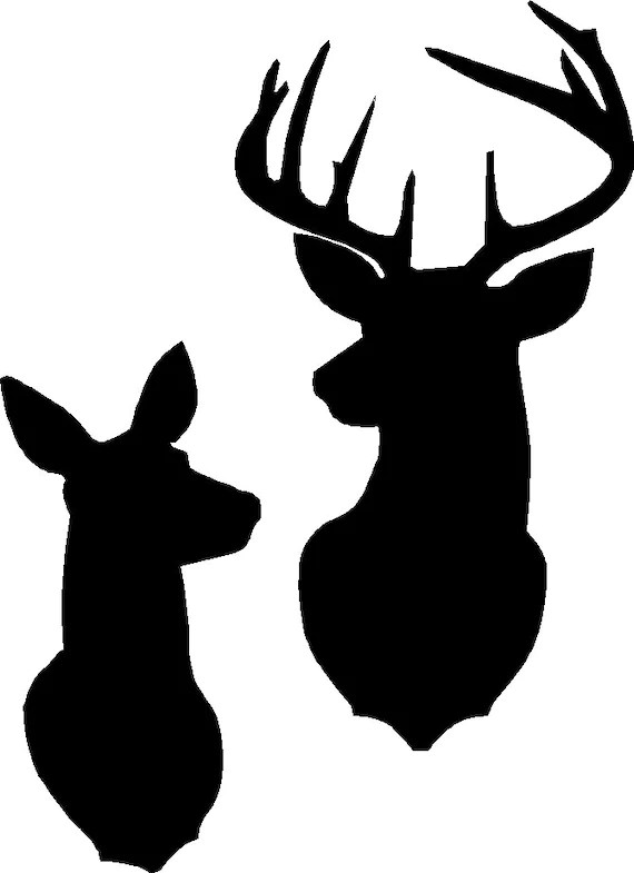 Download Buck and Doe silhouette stencil or decal as shown in the ...