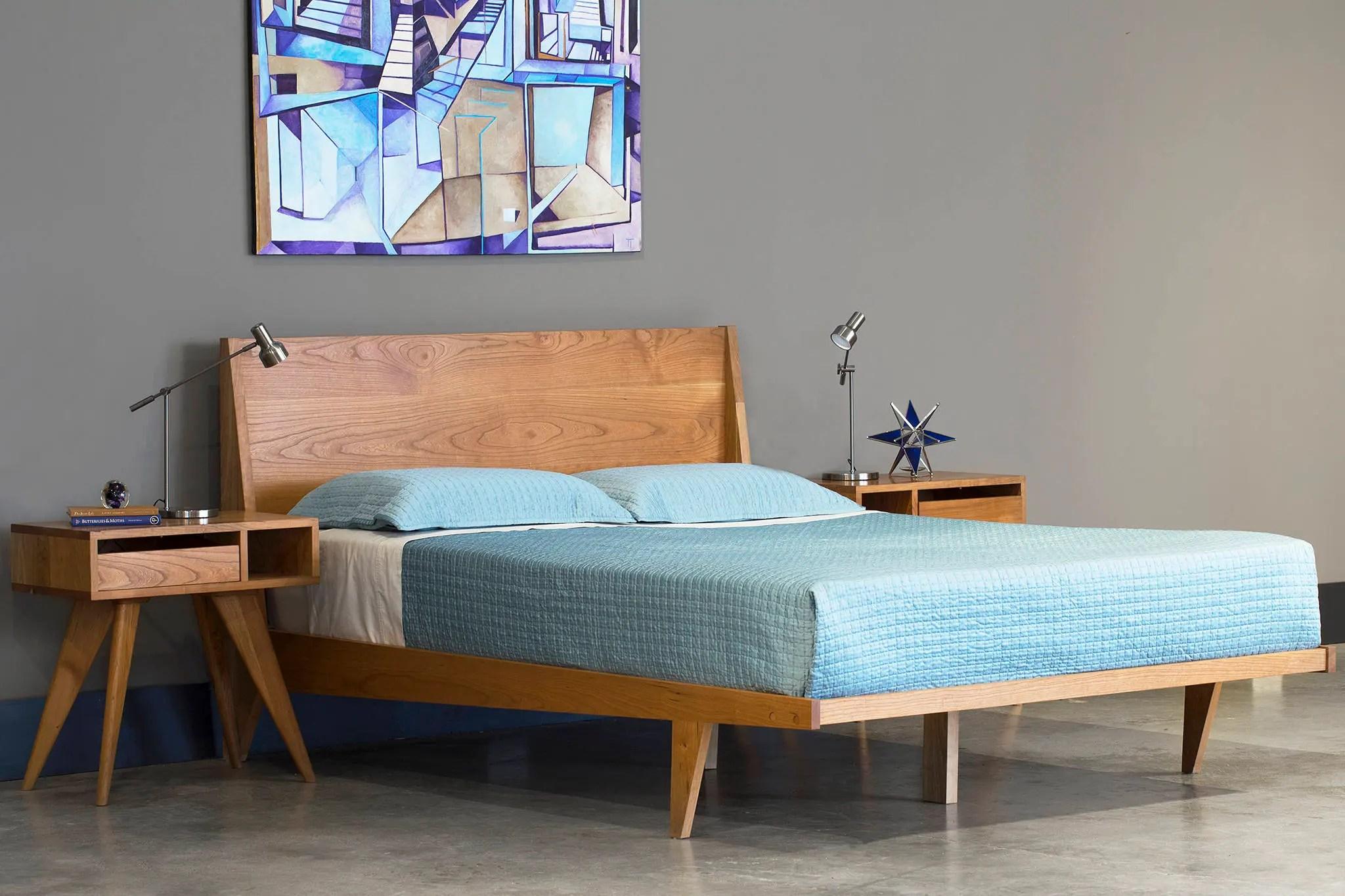 Modern Platform Bed Cherry Mid Century Modern Danish Solid