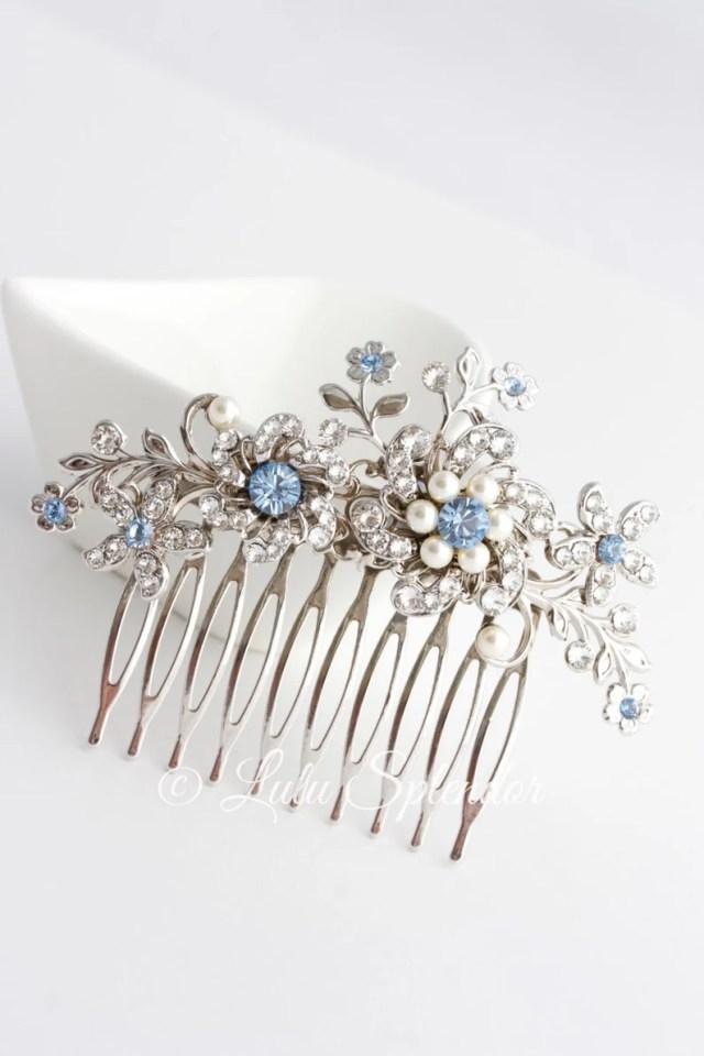 wedding hair comb light sapphire blue bridal hair accessories something blue flower wedding comb sabine choose your blue