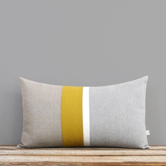 grey chambray and mustard yellow striped lumbar pillow minimal home decor by jillianrenedecor custom colors available honey gold