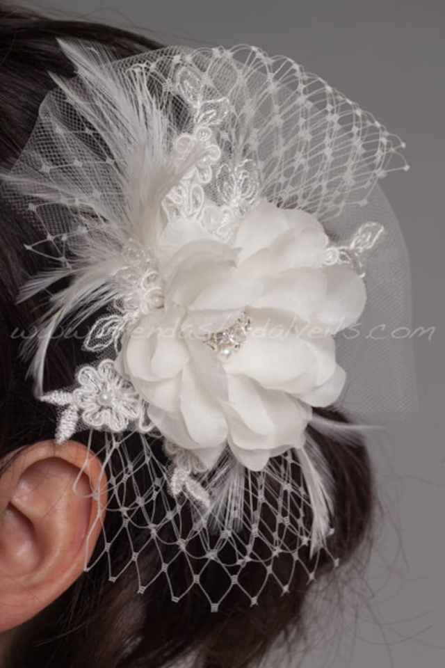 bridal hair piece, silk flower and lace, netting and tulle accents, birdcage fascinator - essence