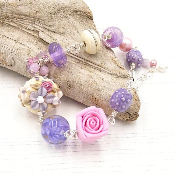 Pink & Lavender Floral Bracelet