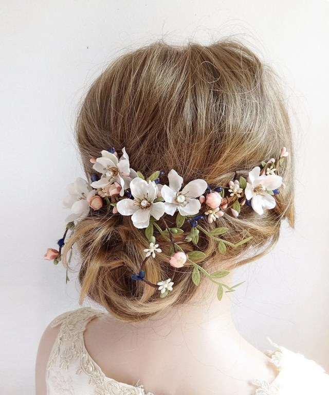 floral bridal hair accessories, wedding hair piece flowers, floral bridal headpiece, bridal floral hair piece, floral hair clip wedding