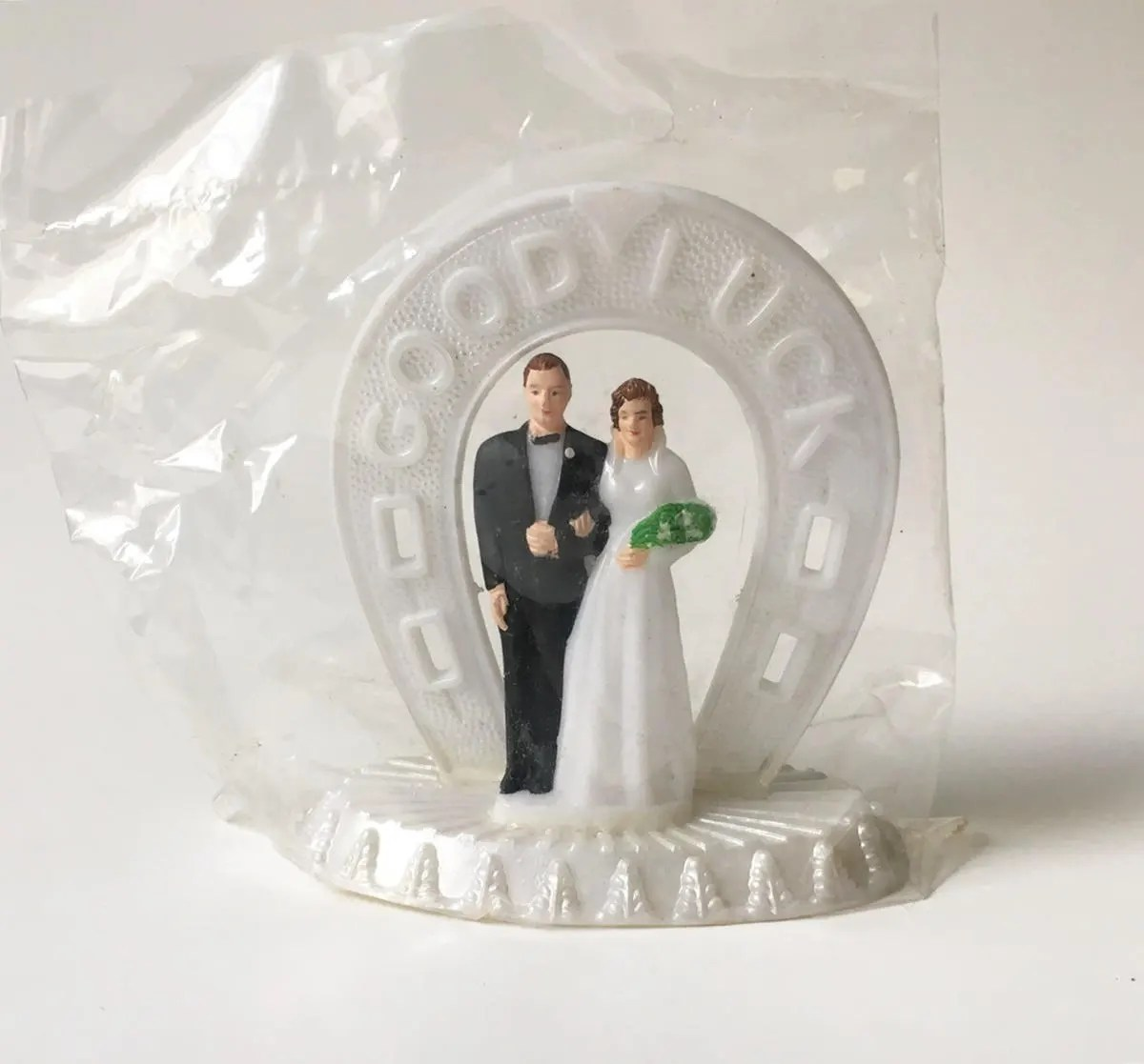 Vintage Wedding Cake Toppers   Etsy Cake Topper Bride and Groom Topper Wedding Cake Topper Vintage New Old  Stock Good Luck cake topper 1960s New in package